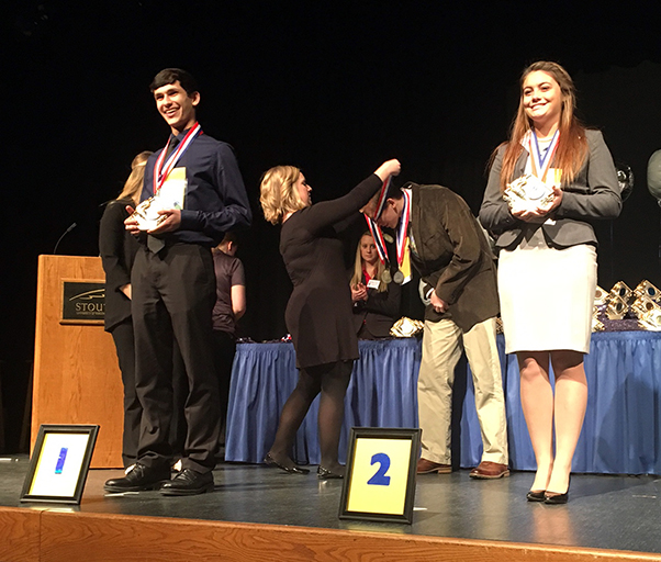 High school students receive awards at a recent DECA District I Career Development Conference at UW-Stout.