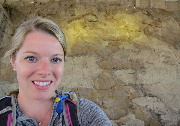 "UW-Stout's Elizabeth Boatman visits Dinosaur National Monument in Utah in 2018, when she was finishing work as lead author of the research ""Mechanisms of Soft Tissue and Protein Preservation."""