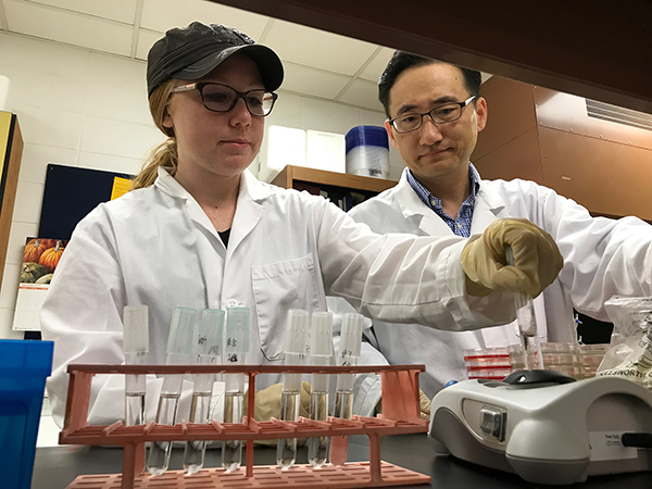 Lehmann works with Assistant Professor Taejo Kim in a food science lab at UW-Stout.