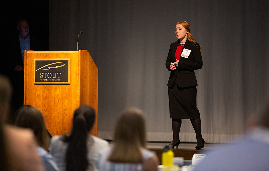 Emily Lehmann gives her Quick Pitch state final presentation on cheese safety at the Wisconsin Science and Technology Symposium, which was held in July at UW-Stout.
