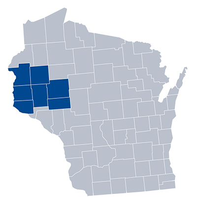 Seven-county service area of the study in west-central Wisconsin