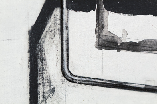 "A closeup of one of Thomas Weger's ""B5 on View"" drawings."