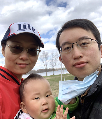 Liang Wu, with his wife, Jue, and son, Aaron.