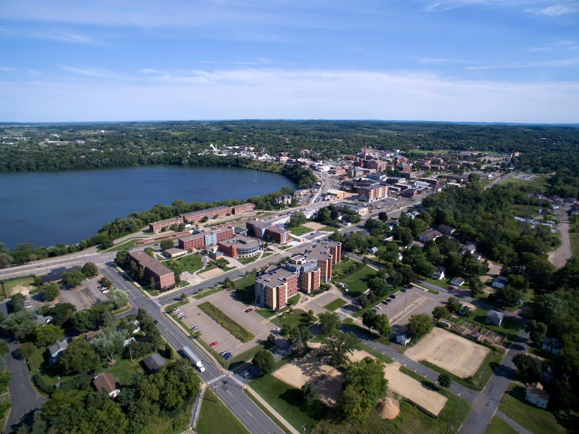 Aerial photo of campus are taken with a drone, or unmanned aerial vehicle (UAV)