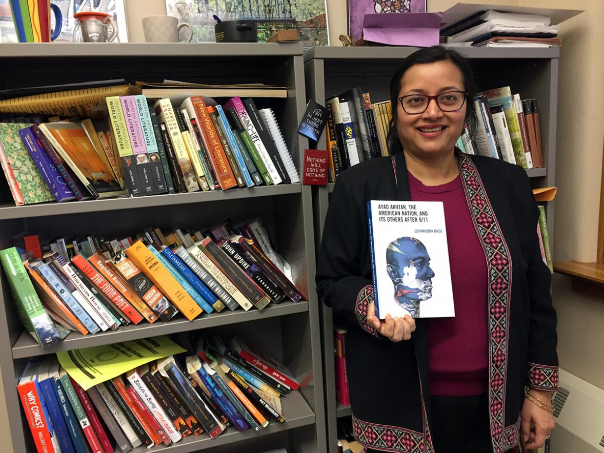 UW-Stout English professor Lopamudra Basu has published a book on Pulitzer Prize winner Ayad Akhtar. / UW-Stout photo by Pam Powers
