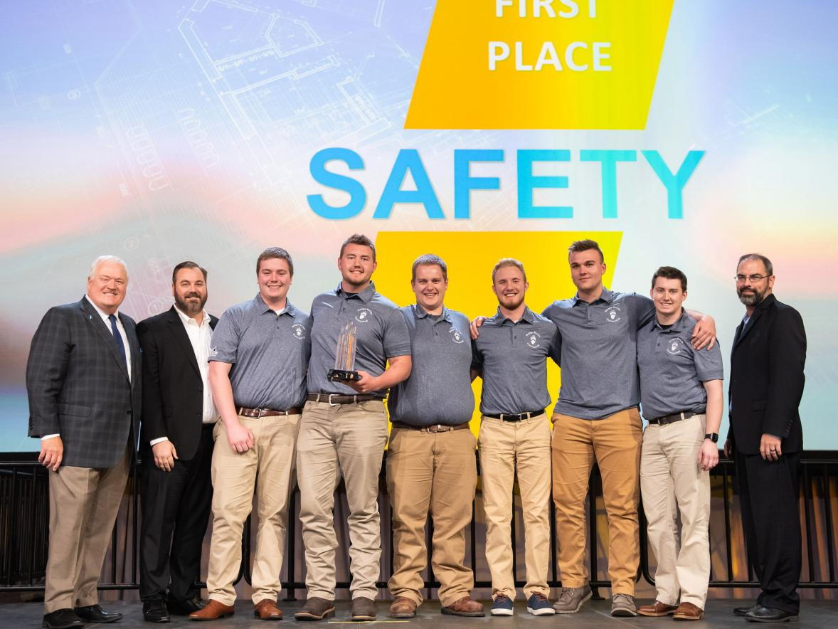 UW-Stout construction majors celebrate their first place in safety in the ABC national competition. From left are Alex Daniels, Vincent Lien, Ryan Arts, Michael Sonsalla, Matthew Jagodzinski and Jordan Jenson.