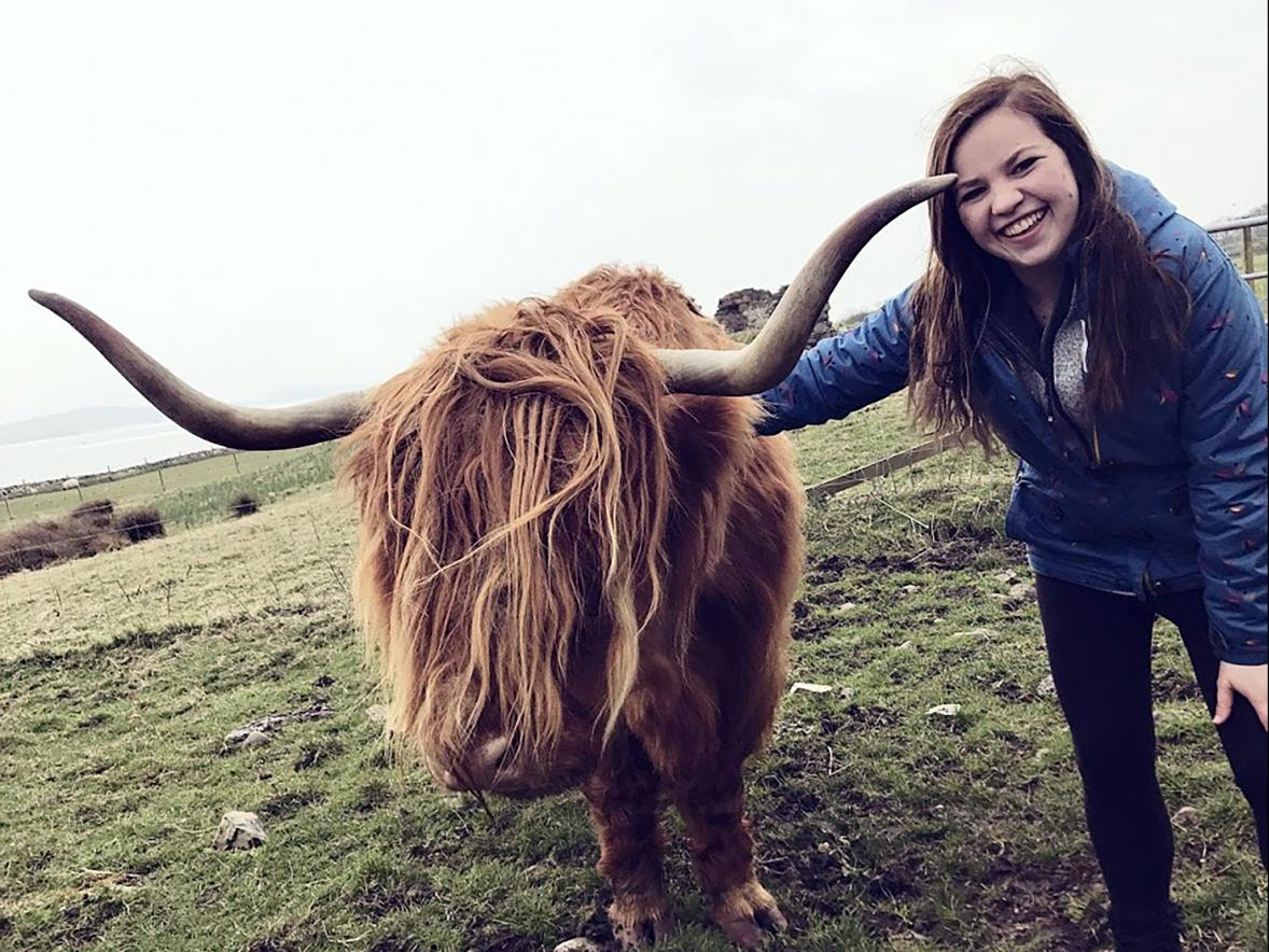 "UW-Stout student Abigail ""Abby"" Fawcett tours rural Scotland during the Wisconsin in Scotland program."