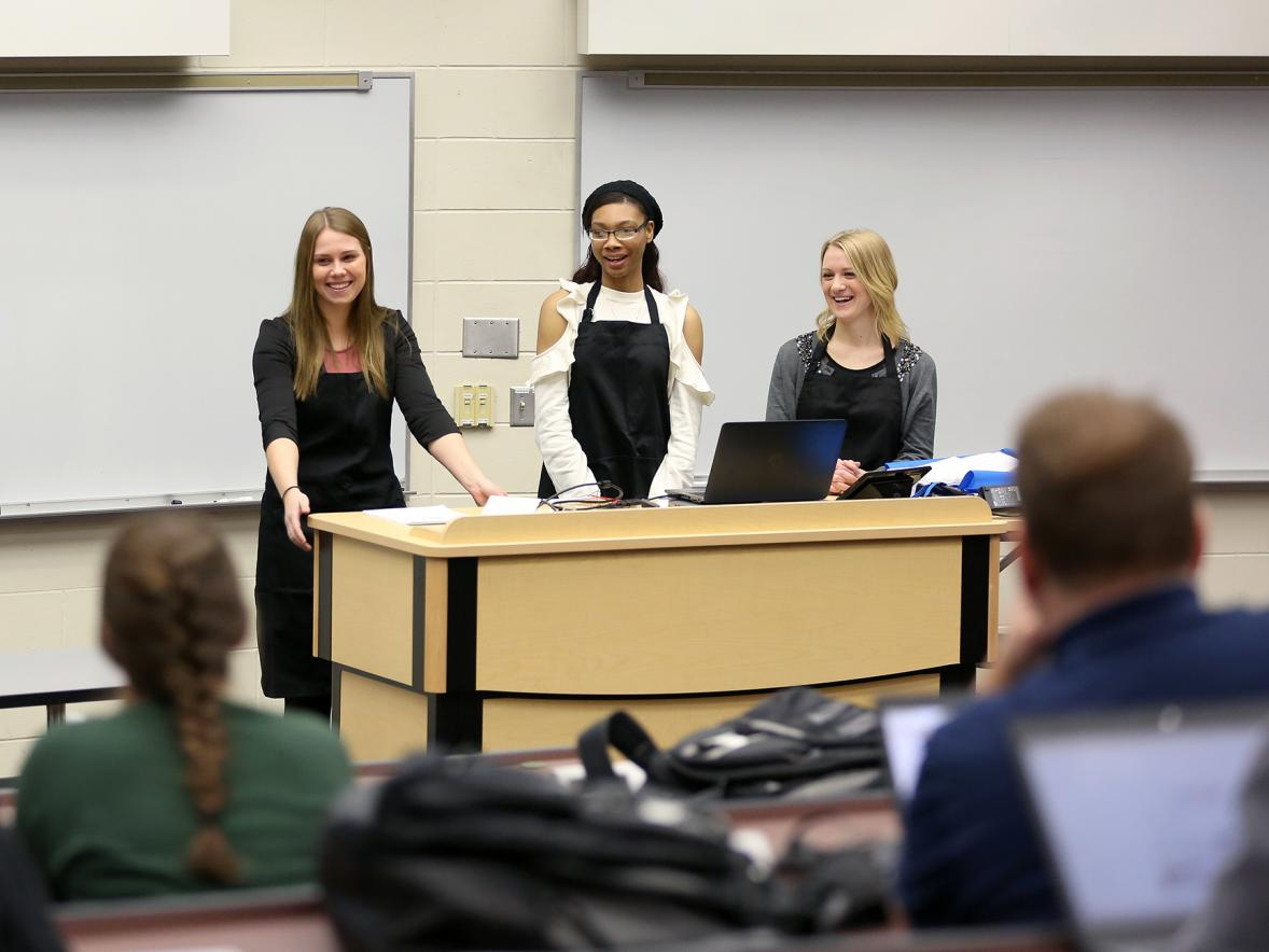 UW-Stout students present a business idea during a entrepreneurship class.