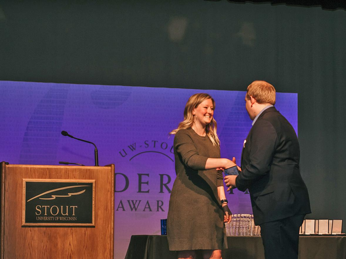 A student receives an award at the Leadership Awards in 2019. The awards will be given virtually on Wednesday, May 6, this year.