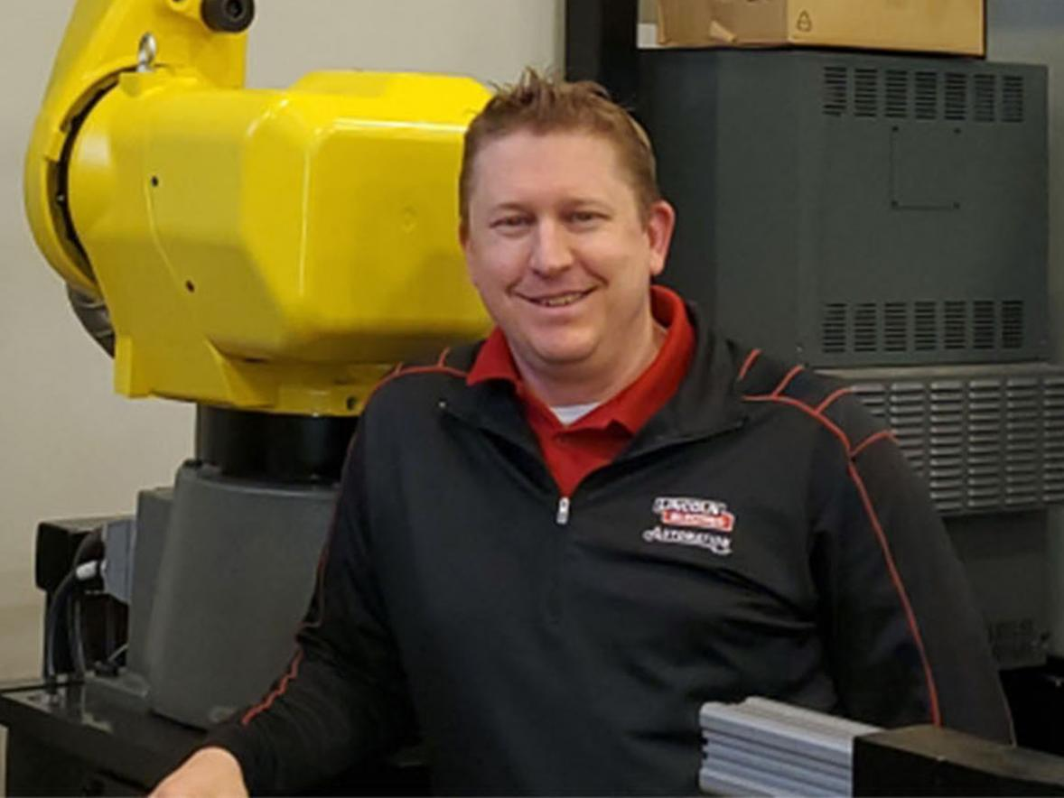 Online management graduate Shaun Zahradka, operations manager at Lincoln Electric's facility in Bettendorf, Iowa.