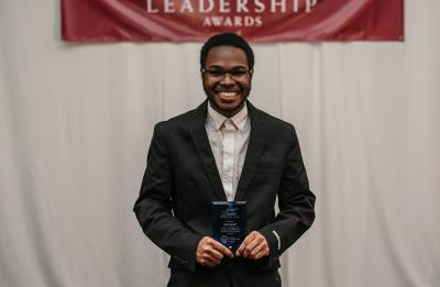 Deon Canon, Gilman Scholarship recipient, at the UW-Stout Leaderships Awards.